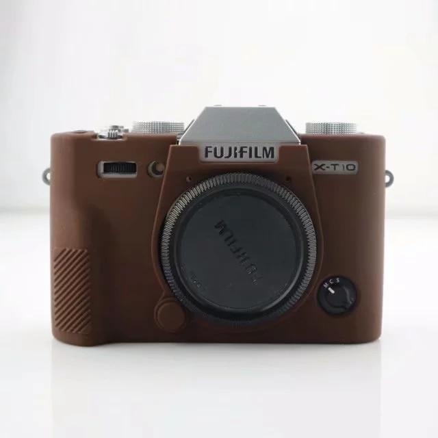 Caso de cámara de Cuero Genuino Real Medio Bolso Protector para Fujifilm X100F Marrón Oscuro