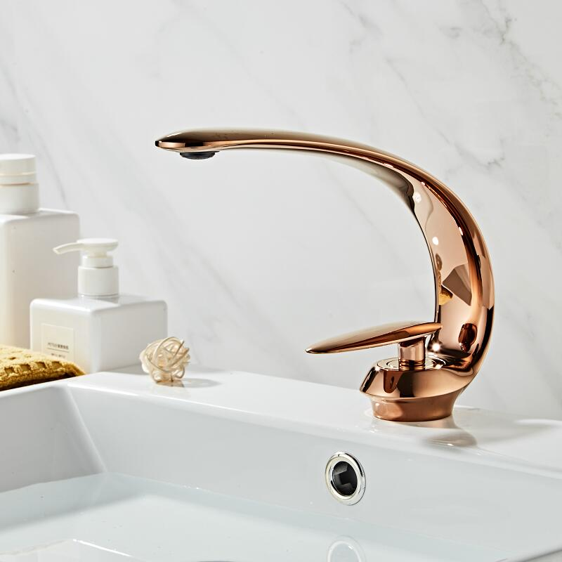 Basin Faucets Modern Rose Gold Bathroom Mixer Tap Brass Washbasin Faucet Single Handle Single Hole Elegant Crane For BathroomBasin Faucets Modern Rose Gold Bathroom Mixer Tap Brass Washbasin Faucet Single Handle Single Hole Elegant Crane For Bathroom