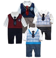 2015 Spring Baby Handsome Rompers Toddler Tie Bodysuits Tuxedo One Piece Clothes Retail Free Shipping