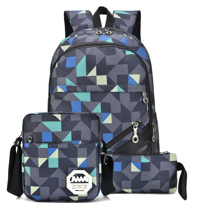 3 Sets Pcs 2018 Fashion Women Backpack for School Teenage Girls Boys School  Bag Male 066bffe764fcd