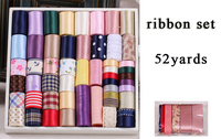 2015 Hot New 52 yards Flower printed Ribbon Grosgrain Satin Organza Mixed Ribbon Set Tapes DIY Hairbow Hairpin accessorie