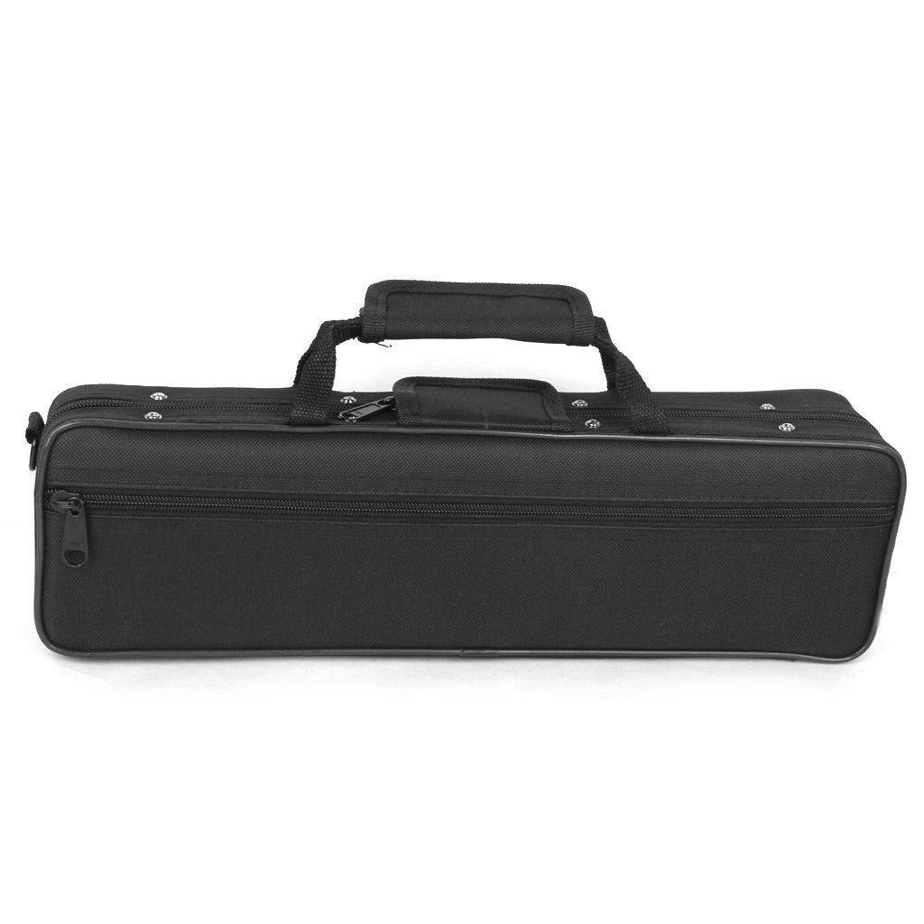 Nylon Padded Flute Bag Carry Case Cover Shoulder Strap 39 X 7 X 11cm Black