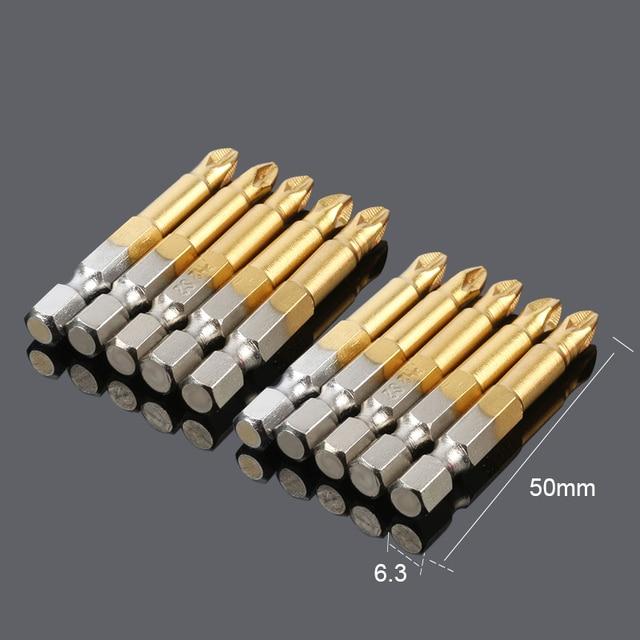 10pcs Precison Anti Slip Electric Phillips Screwdriver Bits Set Ph2 50mm Single Side Power Tools Hex Shank Screw driver Bit