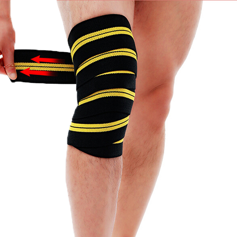 2 Pieces Professional Heavy Duty Weight Lifting Knee Support Compression Wraps For Weightlifting, Powerlifting