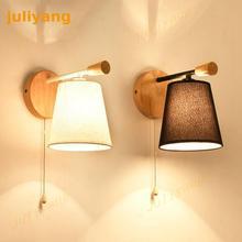 Деревянный настенный светильник в скандинавском стиле с выключателем, прикроватный настенный светильник для спальни, столовой, украшения 220 В, 110 В