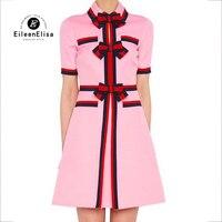 Розовые платья элегантные Для женщин 2018 лето галстук бабочка платья отложной воротник строки женские платья элегантный