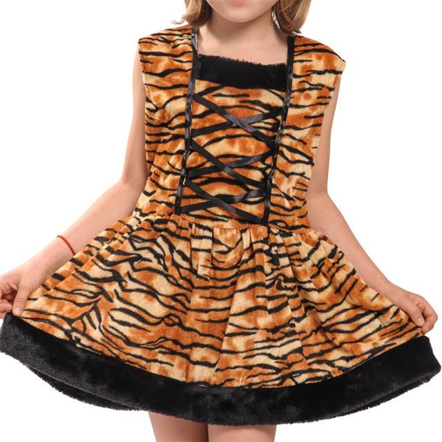 Girls Tiger Dress Costume with Headband