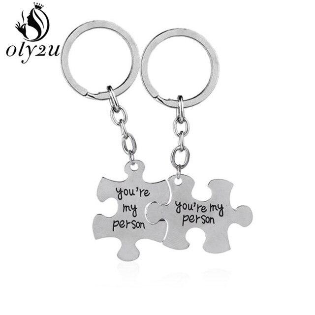 Anatomia de Grey Oly2u Keychain (Você é A Minha Pessoa) suporte Chave Do Carro chaveiro Amantes Melhor Amigo Declaração enigma Presente do Dia Dos Namorados