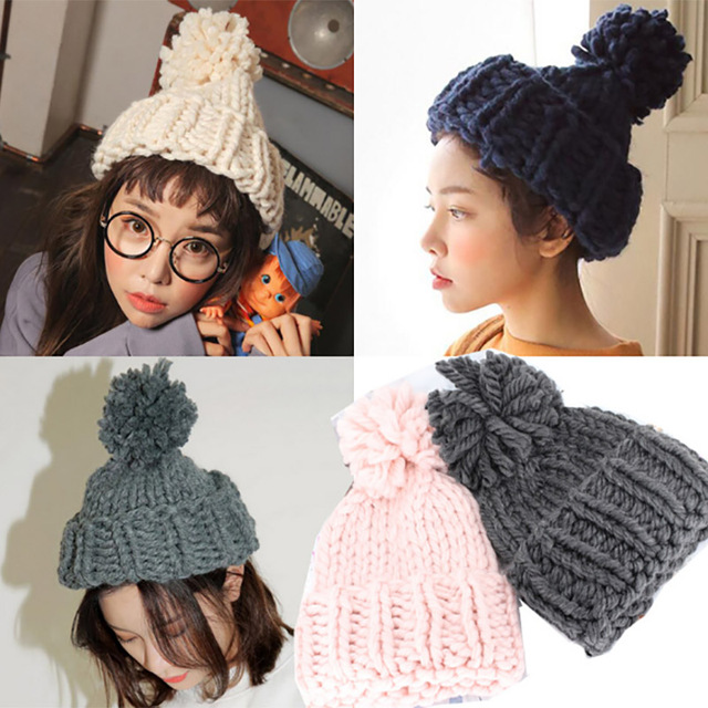 Autumn winter high quality thicks warm fashion lady knitted hat gray fur ball solid color coarse wool hat hand crochet hat