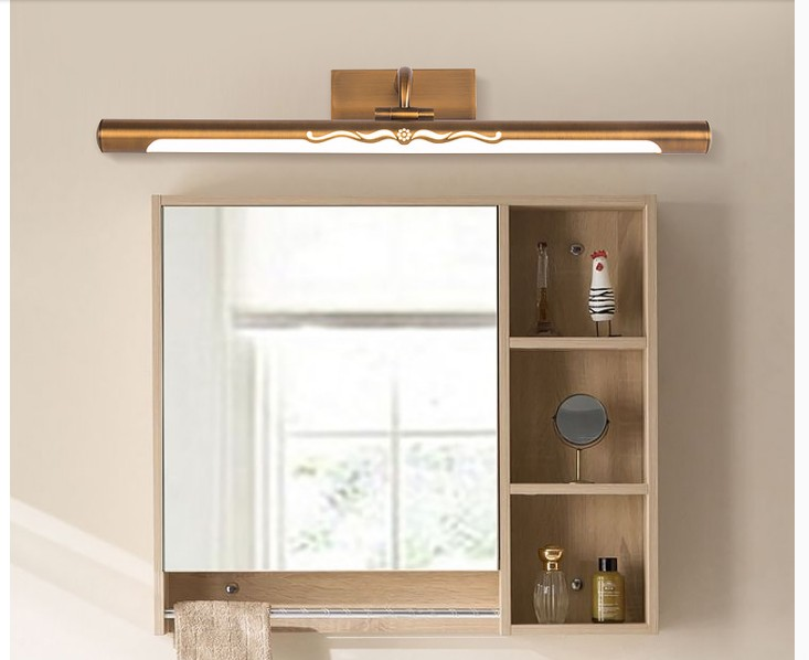 Free Shipping Brass Color Mirror Wall Lamp 110V~220V Bathroom Mirror Lamp Waterproof Retro Bronze Cabinet Vanity Mirror Lights 32 waterproof mirror tv for bathroom analogue tuner ntsc pal secam avs320fs integrated speakers free shipping