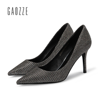 GAOZZE Striped Sequin Cloth Pointed Toe Party Women Pumps Shoes Sexy High Heels Women Pumps Stiletto Heel Shoes 2018 Spring New