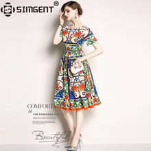 cf82adfa2dea50 Simgent 2018 Summer New Women Elegant Short Sleeve Casual Pinup Office  Printing Pleated Dress Vestidos Robe Femme Jurk SG84262