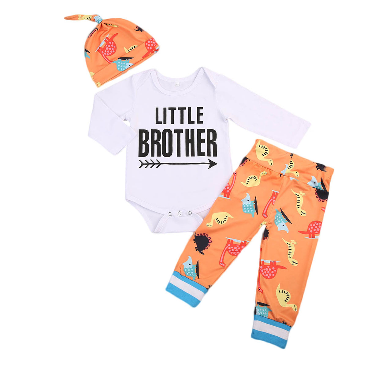 Cute Newborn Baby Girl Boy Clothes Letter Top Romper Long Sleeve +Little monsters Print Pants Casual Hat 3pcs Outfits Set Autumn