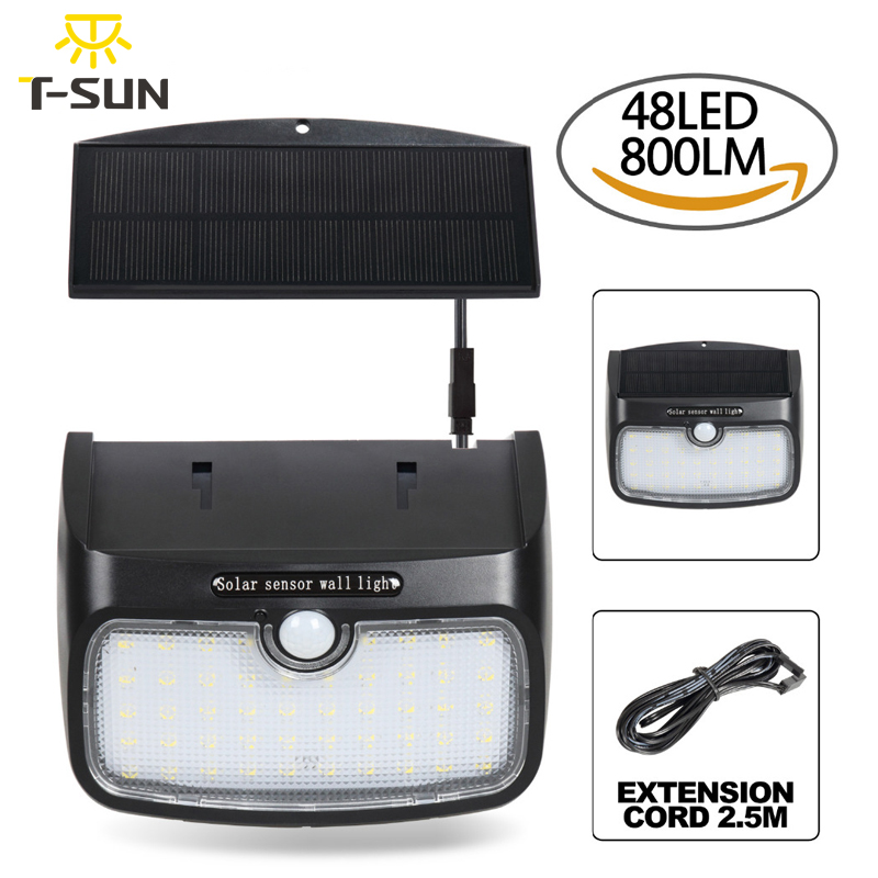 t sunrise holofotes solar ao ar livre sensor de movimento do painel solar separado wih 48