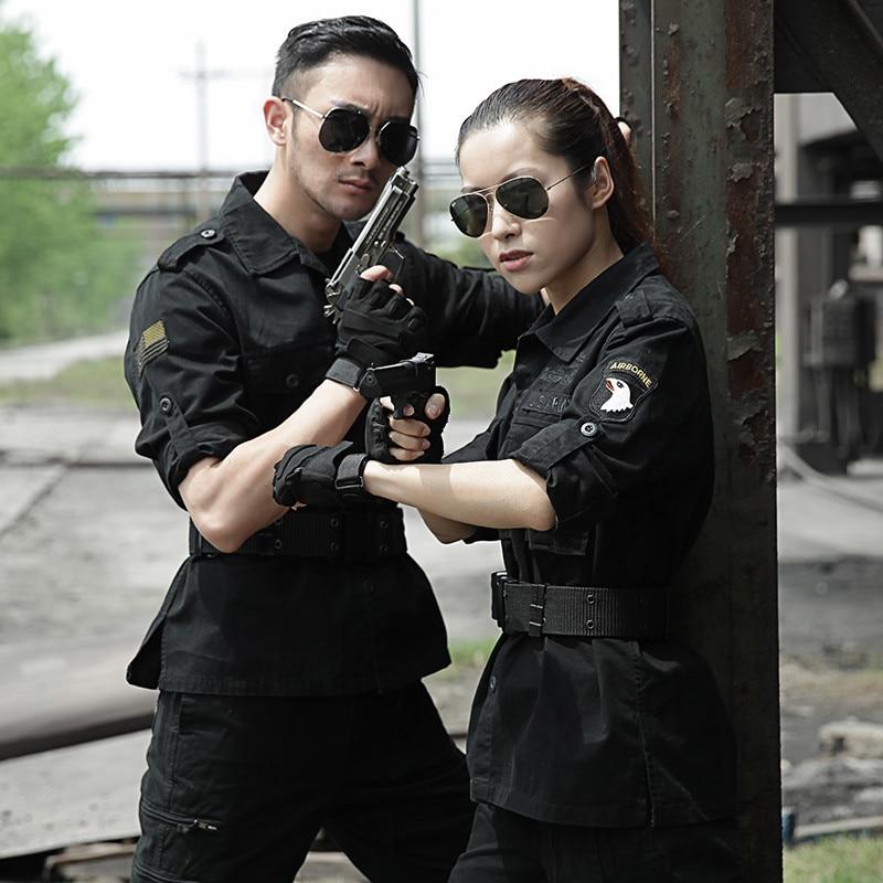 Black Military Uniform Tactical Clothing US Army Special Force Cotton Tactico CS Clothes Men Combat Jacket+Cargo Pants Female
