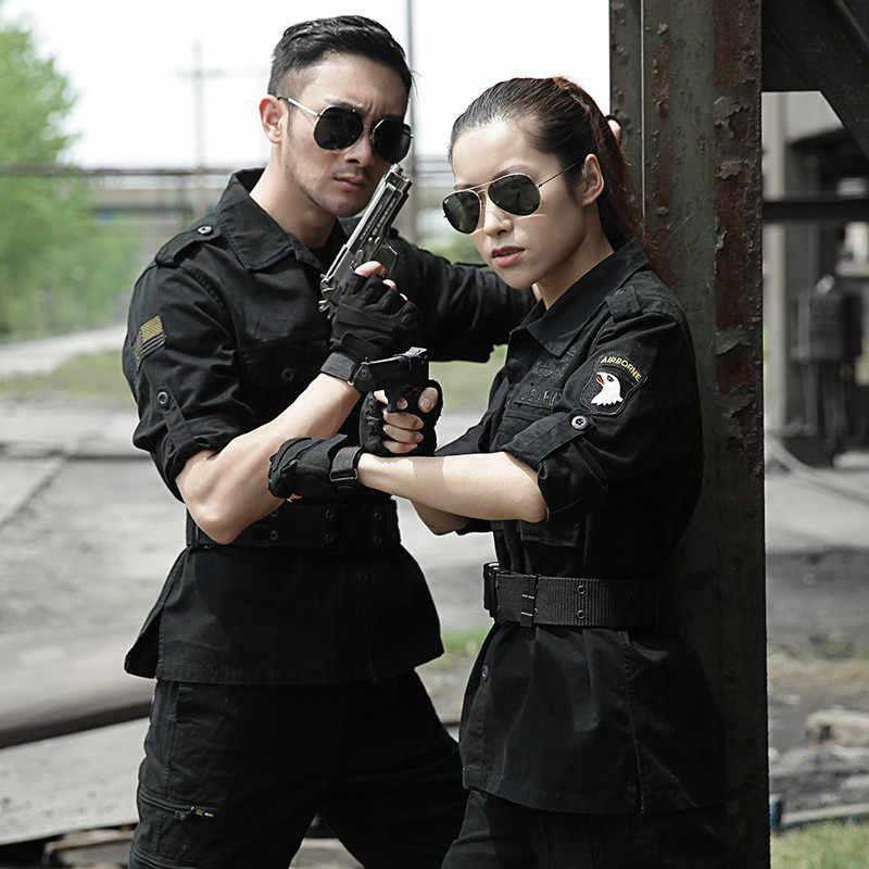 Zwarte Militaire Uniform Tactische Kleding ONS Leger Speciale Kracht Katoen Tactico CS Kleding Mannen Combat Jas + Cargo Broek Vrouwelijke