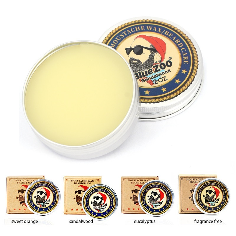 60g Natural Moustache Cream Oil Beard Balm Moisturizing Sweet Orange Sandalwood Eucalyptus Organic Beard Wax For Styling Beeswax