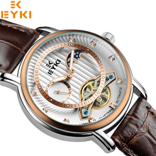 Original eyki relojes mismo-viento automático de los hombres de calidad marca de cuero casual relojes con calendario caja de regalo