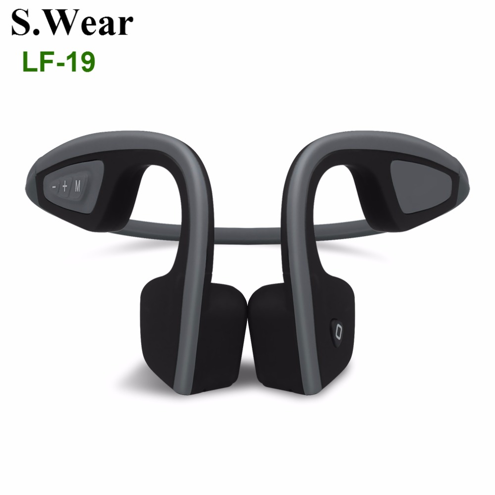 S.Wear LF-19 Bluetooth 4.1 Bone Conduction Headphones Wireless Stereo Sports Running Handfree Headset With Mic For Smart Phones s wear bluetooth 4 0 wireless headset sports bone conduction earphone headphones ear hook stereo with mic with box