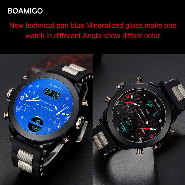 men watches BOAMIGO brand 3 time zone military sports watches male LED digital quartz wristwatches gift box relogio masculino 4
