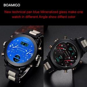 Image 4 - 남자 시계 BOAMIGO 브랜드 3 시간대 군사 스포츠 시계 남성 LED 디지털 석영 손목 시계 선물 상자 relogio masculino