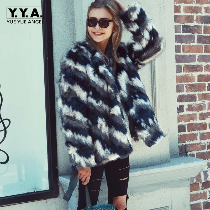 High Quality Women Winter Warm Fashion Striped Colorful Faux Fur Coat 2018 Euro Female Jackets Rock Stage Show Outwear Overcoats