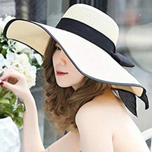 Summer Large Brim Straw Hat Floppy Wide Sun Cap Bowknot Beach Foldable Hats New