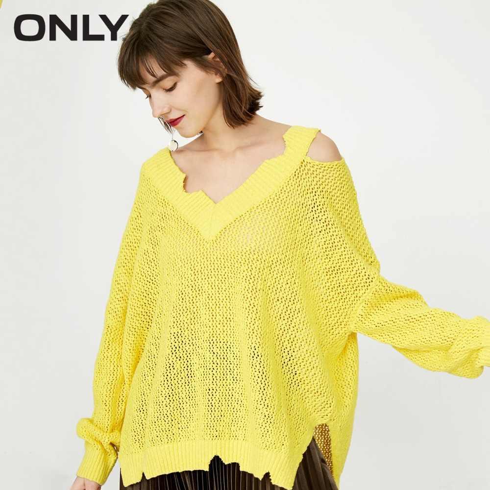 Только для женщин 100% хлопок v-образный Вырез Рваные прозрачные сексуальные трикотажные свитера пуловер | 118124544