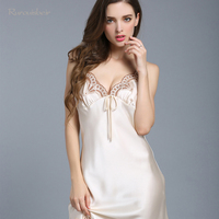 100% Genuine Silk Nightgowns Female Upscale Summer Nightdress Sexy Sleeveless Lace V Neck Silk Satin Sleepwear Sexy Nightwear