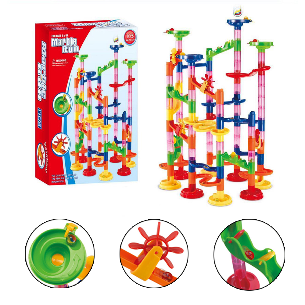105PCS Children DIY Track Building Pipe Blocks For Children Ball Circuit Marble Race Run Maze Balls Educational Toys Gift