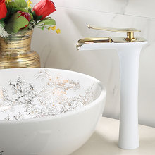 Dofaso brass Basin Faucet Copper Plated Baked White Paint Face Leading tap mixer Heightening Hot/Cold 28cm