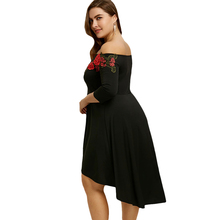 Plus Size Embroidery Off The Shoulder Casual A-Line Party Dress High Low Hem Floral Mid-Calf Dress Vestido 5XL