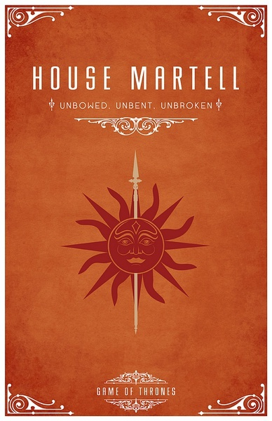 House Martell Unbowed Unbent Unbroken Of Thrones Vintage Retro Poster Canvas Diy Wall Stickers Home