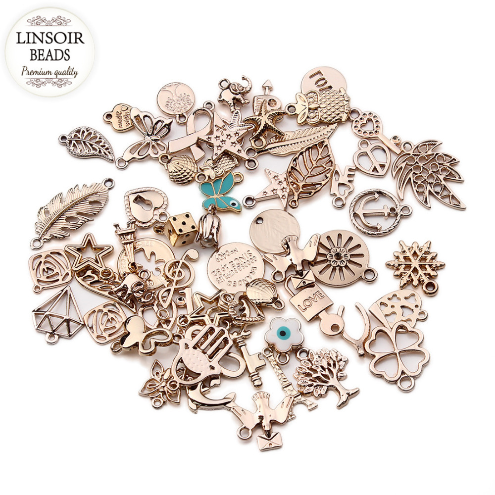 36pcs lot mixed kc gold european bracelets charm pendants for Earring supplies for jewelry making