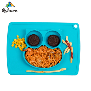 Qshare podkładka dla dzieci silikonowe przyssawki dla dzieci niemowlęta karmienie zastawa stołowa taca naczynia łatwe do czyszczenia mata silikonowa tanie i dobre opinie Nitrosamine darmo Ftalanów BPA za darmo Obiadowy Zwierząt Zestaw obiadowy Owl styling plate Suction Bowl Anti Slip unbreakable foldable