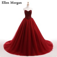 Burgundy Wedding Dresses For African Black Skin Girls Sexy Sweetheart Neck Princess Corset Lace Up Stones