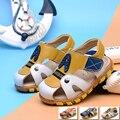 Sapatos meninos de verão para crianças de couro genuíno sandálias respiráveis macios Carne tendão sola anti-slip sapatos da moda sapatos ao ar livre