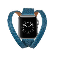 Newest Crown Double Loop Genuine Leather Strap For Apple Watch Band Bracelet Replacement Wrist Band For