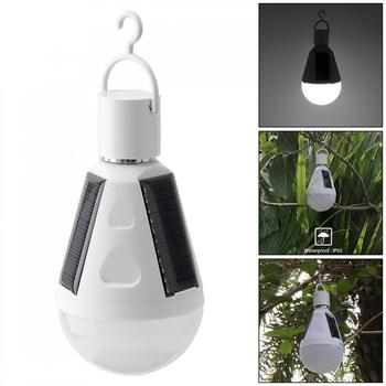 Portable 7W LED Waterproof Solar Light Emergency Lamp Bulb with Hang Hook for Outdoor / Garden / Camping / Hiking / Fishing portable led light bulb solar powered waterproof 3 7w outdoor camping tent travel hiking solar panel lamp emergency lighting