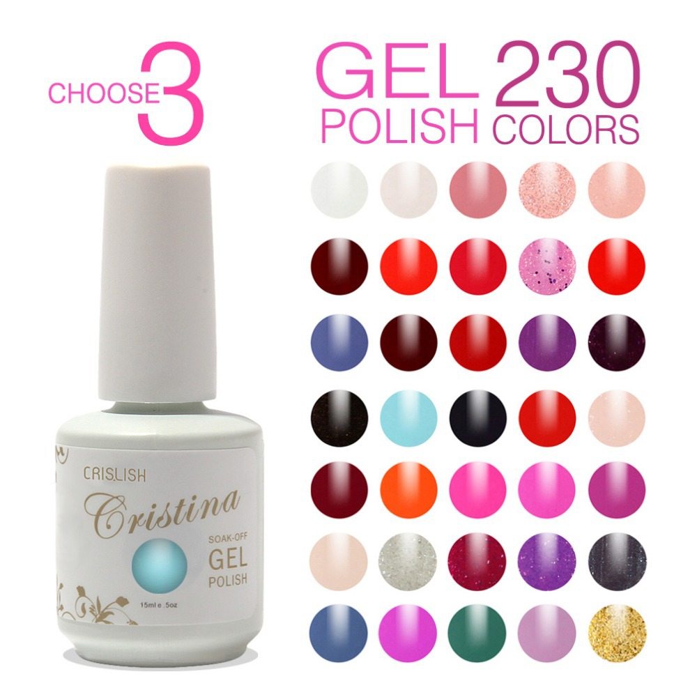 Choose 3 Colors Crislish Professional Hot Sale UV Soak Off Gel Nail ...