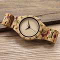 BOBO BIRD D21 UV Print Flower Wooden Watches Men Women Designer Brand Quartz Wristwatch in Gift Box reloj madera hombre