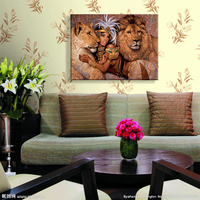 Full Diy Diamond Embroidery Cross Stitching Mosaic Art Wall Sticker Diamond Painting Lion Room Wall Decor