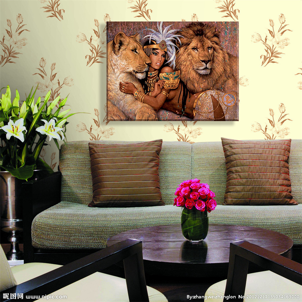 Online get cheap lion wall decor alibaba for Cheap wall hangings