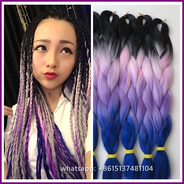 Very Beautiful 2pcslot Lavender Ombre Hair Extension Braidslilac