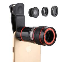 PERAK 8x Zoom Telephoto Len For iPhone 7 plus 6s Samsung s7 edge s8 Fish Eye Wide Angle Macro Fisheye Lens Olho de Peixe 4 in 1 4 in 1 phone lens 0 63x wide angle macro fish eye telephoto zoom lens for samsung s8 s9 plus phone camera lens kit