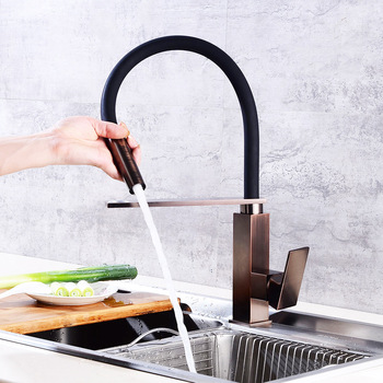 ORB Brass Pull Out Kitchen Faucet Single Handle 360 Degree Rotation Kitchen Sink Hot & Cold Water Mixer Tap Ware