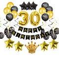 Золотые латексные шары на день рождения, черные, 30, 40, 50, 60 лет, украшения на день рождения, для взрослых, 30, 40, 50, 50 лет