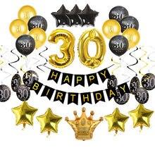 Balões de aniversário dourado de látex, balões pretos de 30 40 50 60 anos feliz aniversário decoração de festa adulto balão 30th 40th 50 anos festa, festa