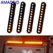 AMADFJD 2pcs Flowing Motorcycle LED Turn Signal Tail Light Blinker Stop Waterproof License Lights Motor Flashers