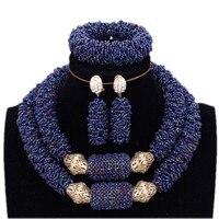 Wedding Jewellery Set Bridal Jewelry Dark Blue and Gold Bold Bracelet Necklace Earrings Set African Nigerian Beads Free Ship